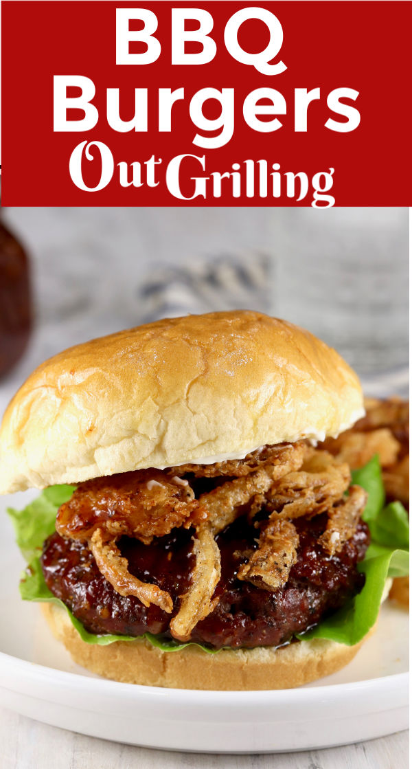 Our favorite BBQ burgers are slathered in homemade barbecue sauce and today we are topping them with Easy Onion Strings for one of the most scrumptious burgers ever.
