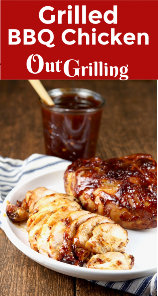 Grilled BBQ Chicken that turns out tender, juicy and delicious! This simple barbecue chicken is brined and then grilled with a homemade barbecue sauce. A tasty dinner that will have everyone running to the dinner table.