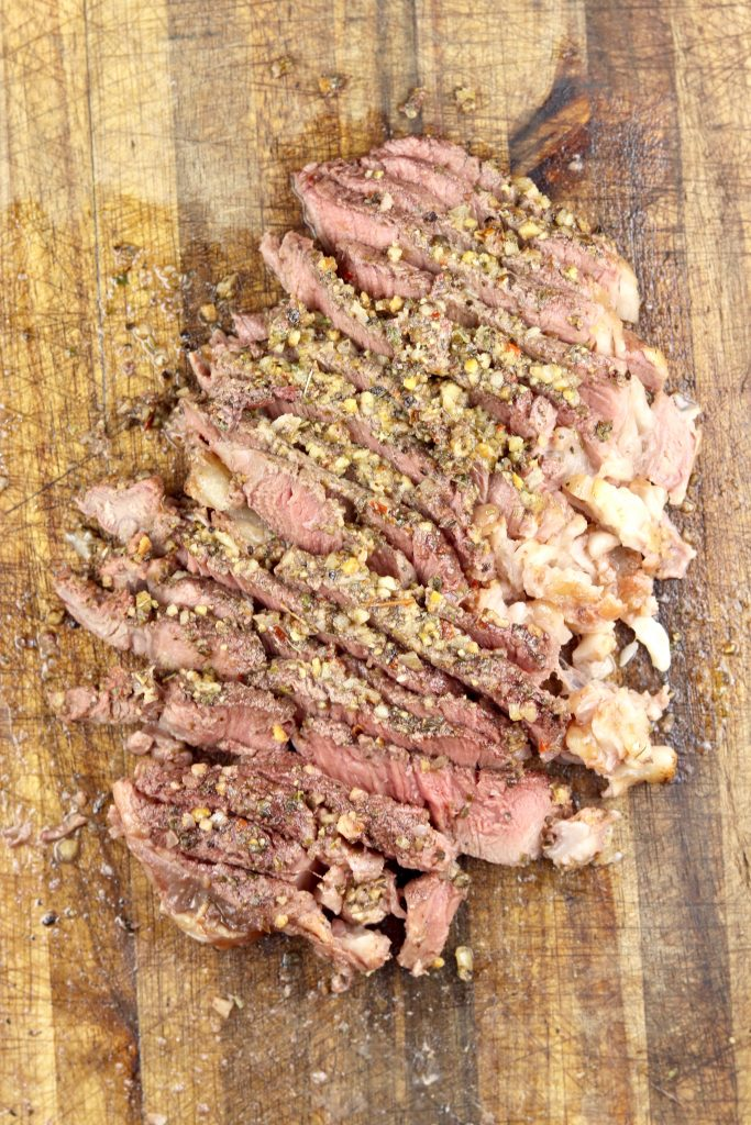 Grilled sirloin steak with salmorgilio sauce