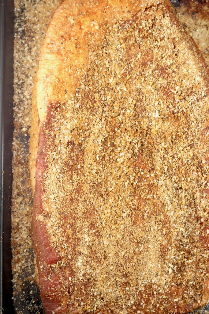 Brown sugar and garlic rubbed brisket ready for the grill.