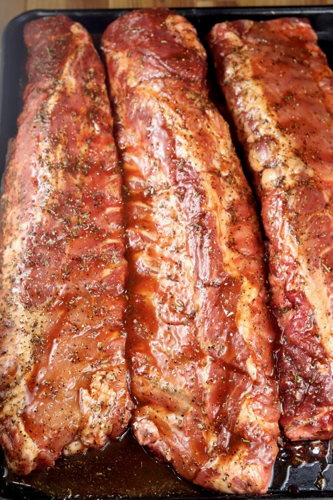 Baby back ribs brushed with maple glaze