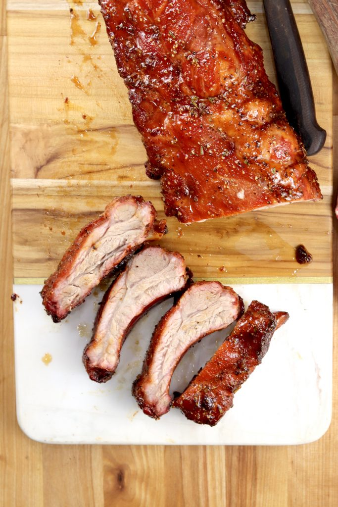 Maple Glazed Rack of Ribs with 4 sliced ribs