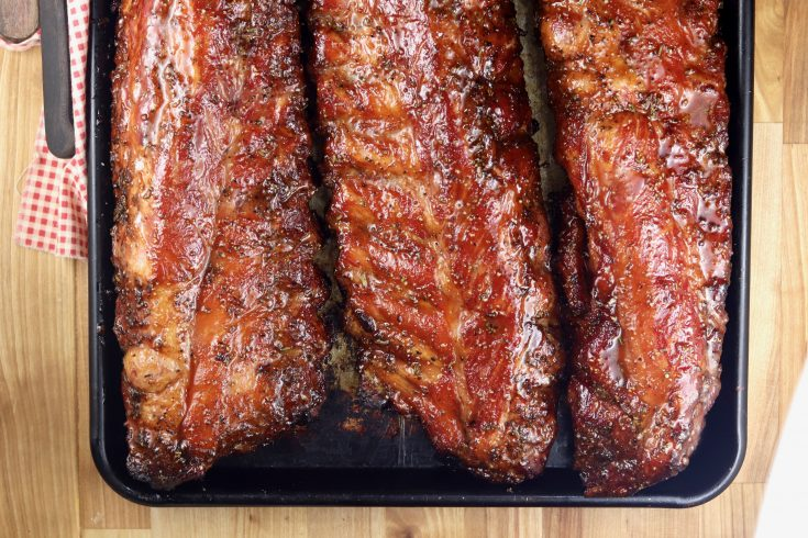 Ribs glazed with maple barbecue sauce
