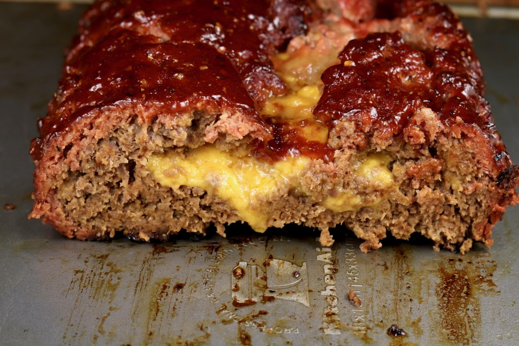 Cheddar Stuffed Meatloaf with BBQ Sauce