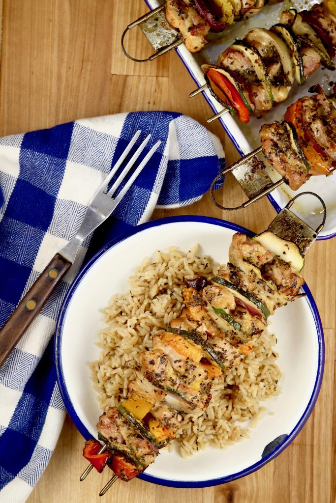 Grilled vegetable and chicken kebabs