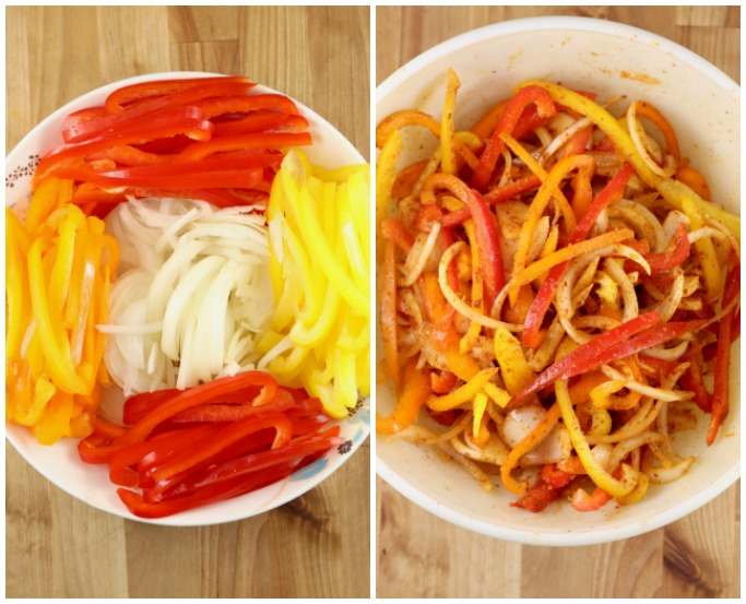 Peppers and onions for grilled fajitas