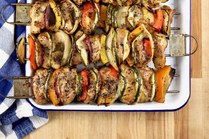 Chicken Kebabs with Vegetables - Grilled