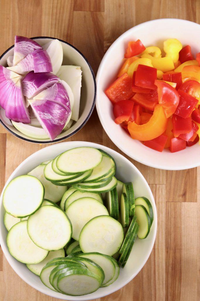 Sliced vegetables for kebabs