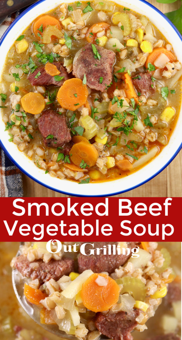 Smoked Vegetable Beef Soup is a hearty and delicious meal filled with smoked beef stew meat, chunky vegetables and farro in a flavorful broth. A comforting and delicious dinner to try this week.