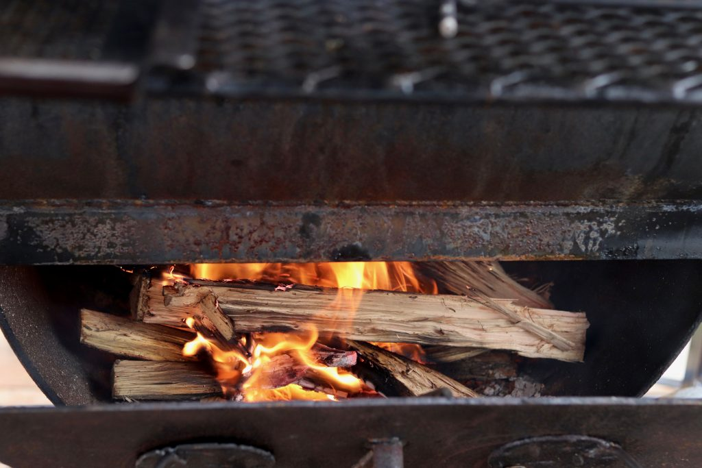 Wood grill fire