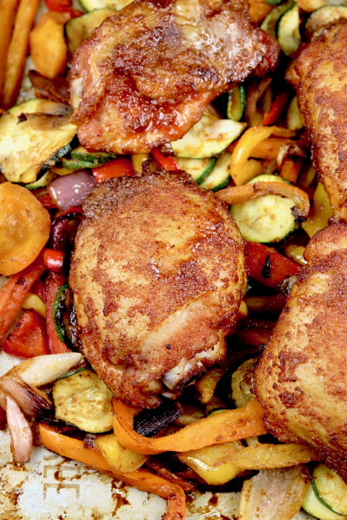 Chicken with Brown Sugar Rub and Grilled Vegetables