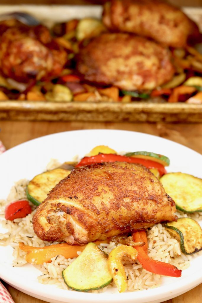 Grilled Chicken Thighs with vegetables