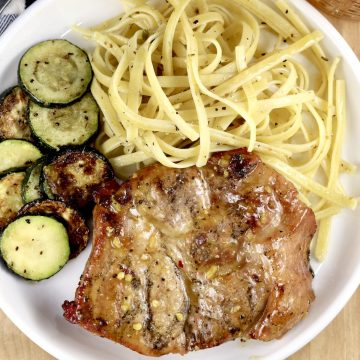 Honey Mustard Pork Steaks with pasta and zucchini