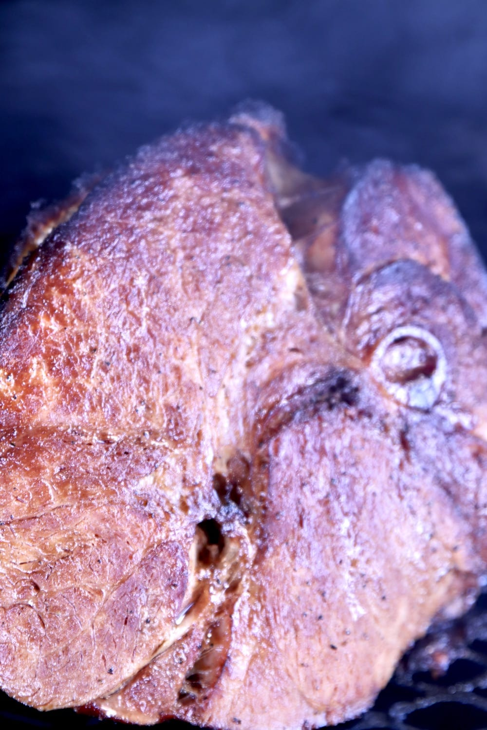 Maple Glazed Ham on a grill - up close