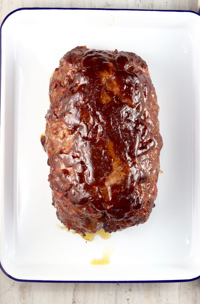 BBQ Meatloaf on a white tray