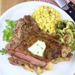Grilled T Bone Steaks with corn and zucchini