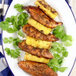 Grilled Chicken & Pineapple on a platter with text overlay