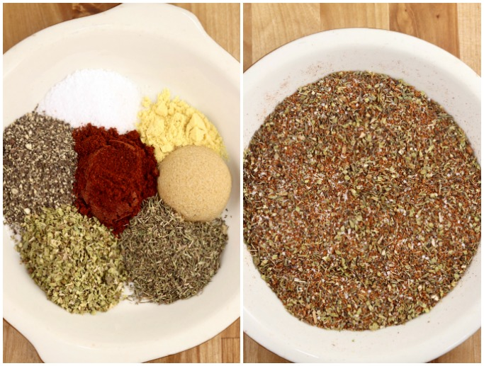 Dry Rub for Steak - collage with seasonings on a pie plate and then mixed together