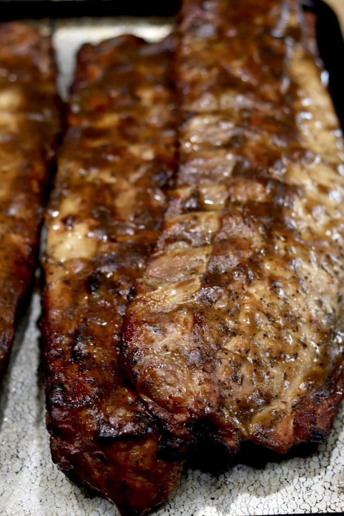 Coca-Cola Ribs grilled and on a sheet pan