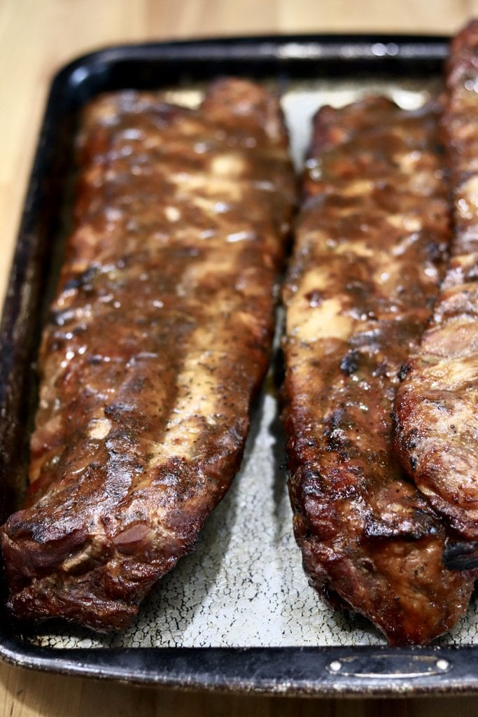 Pan of Coca-Cola Glazed Baby Back Ribs