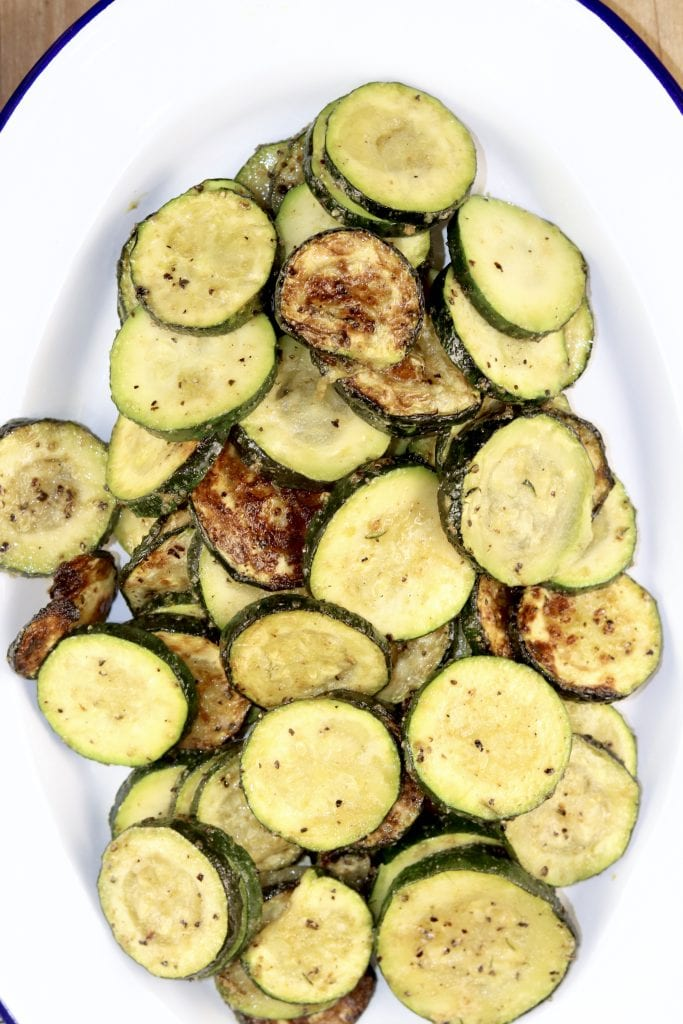 Grilled Zucchini on a white platter