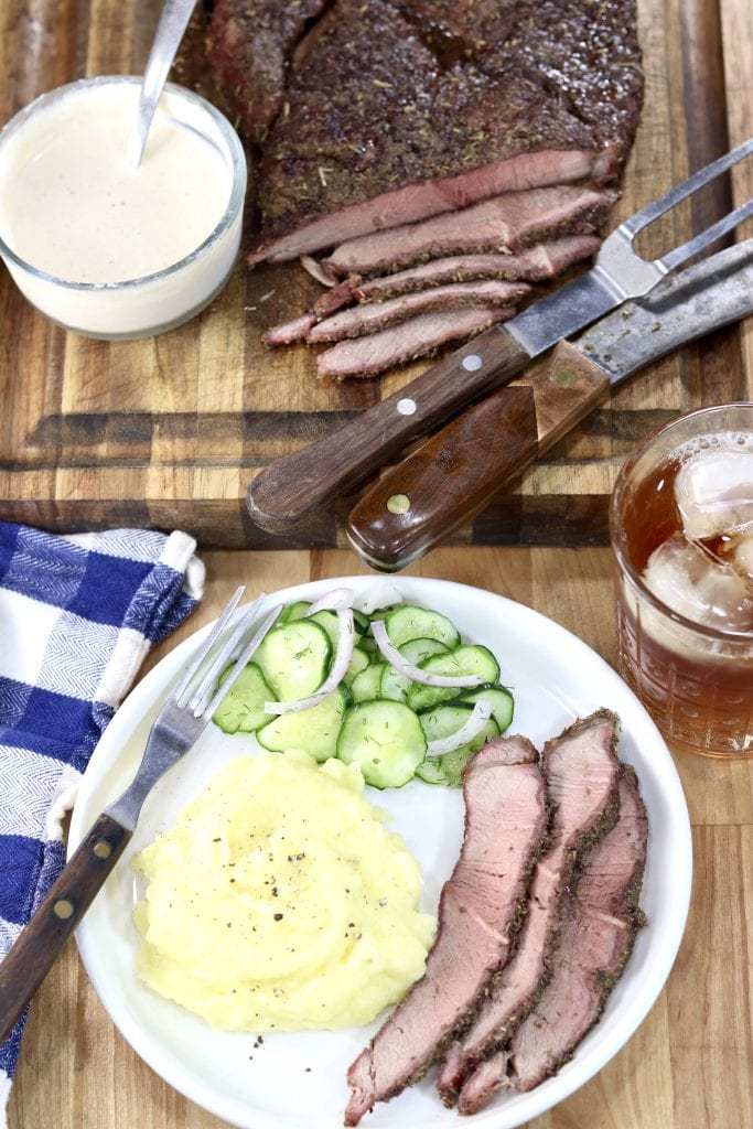 Italian Roast Beef Dinner with mashed potatoes and cucumber salad