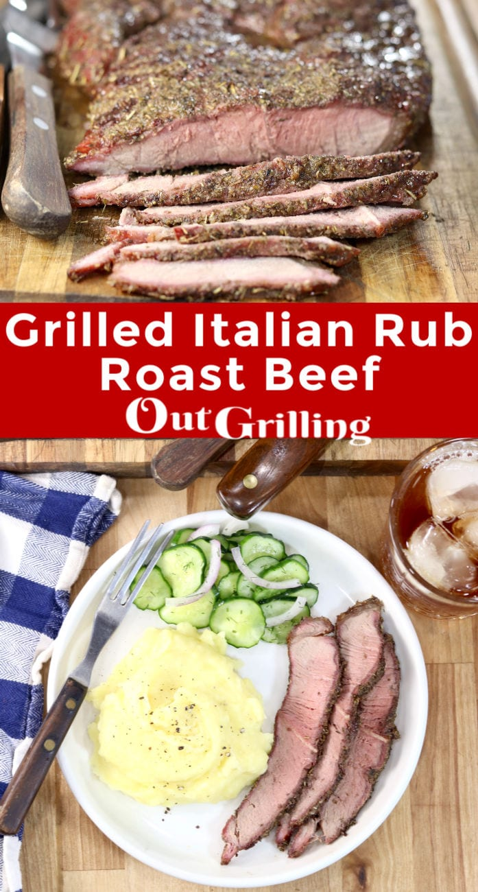 Grilled Italian Roast Beef collage/ plated with slices, mashed potatoes cucumber salad