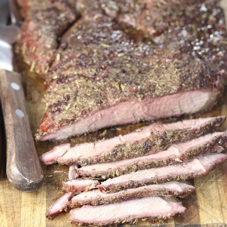 Grilled Italian Roast Beef - sliced