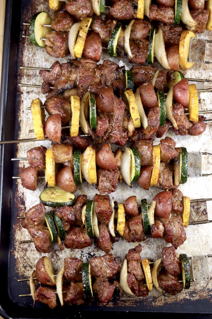 Grilled Kabobs with steak and vegetables on a sheet pan