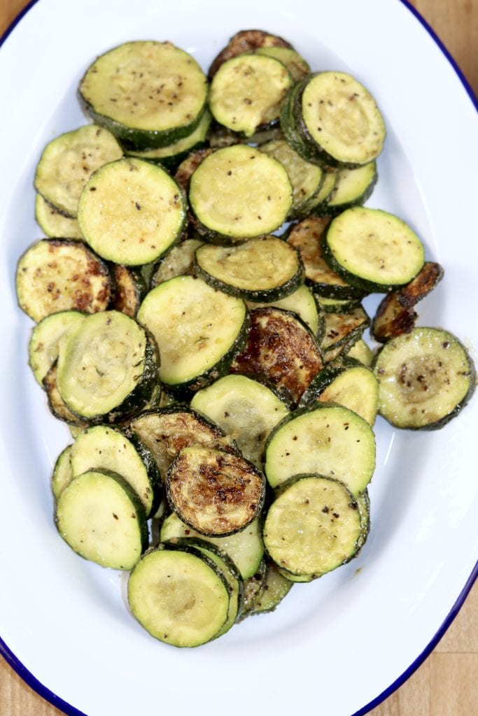 Grilled Zucchini on an oval white platter