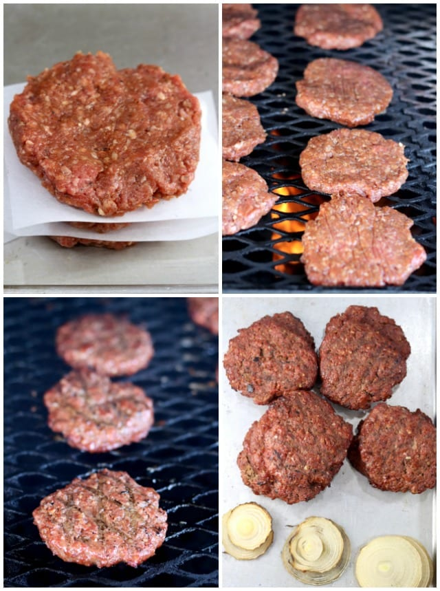 Grilling burgers - photo collage