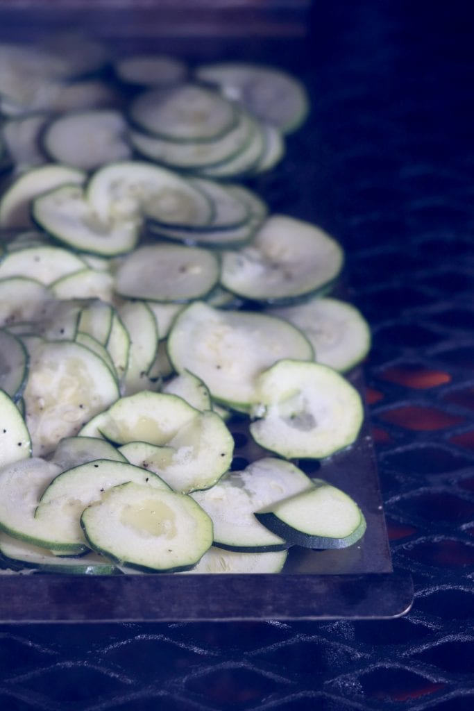 Sliced zucchini on the grill