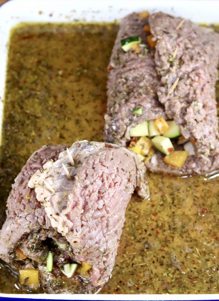 Steak rolls in Italian marinade