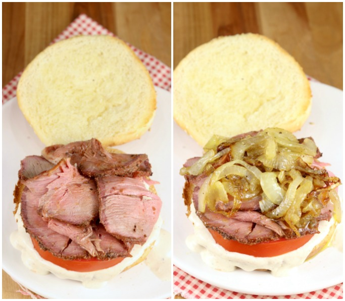 Roast beef sandwich with caramelized onions - collage