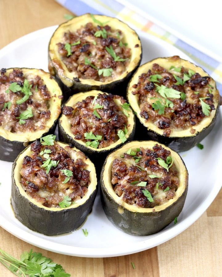 Sausage Stuffed Zucchini Cups on a white plate