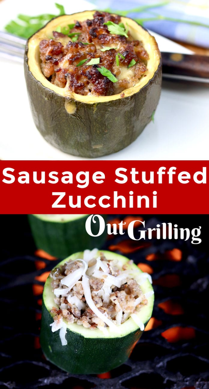 Sausage Stuffed Zucchini collage with grill photo