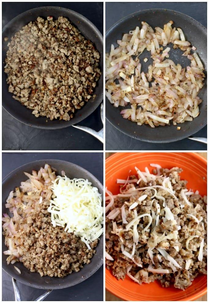 Making sausage stuffing for zucchini