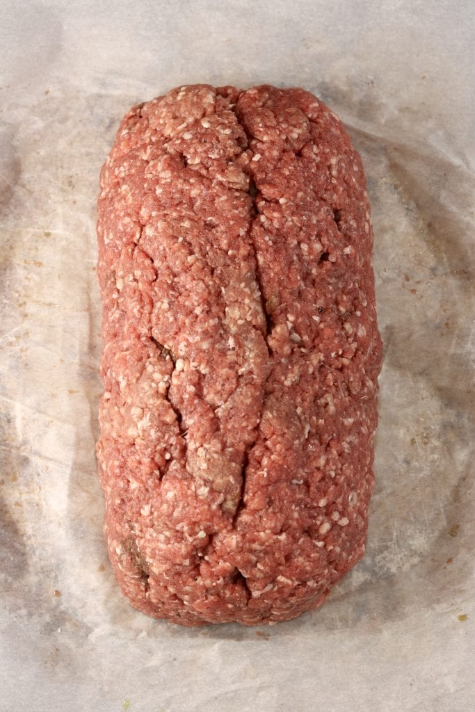 Ground beef loaf for a bbq fatty to smoke on the grill