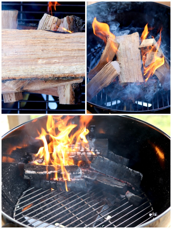 Building a wood fire in a weber kettle grill