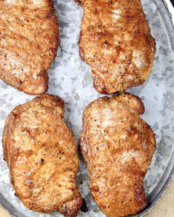 Brown Sugar Pork Chops on a platter