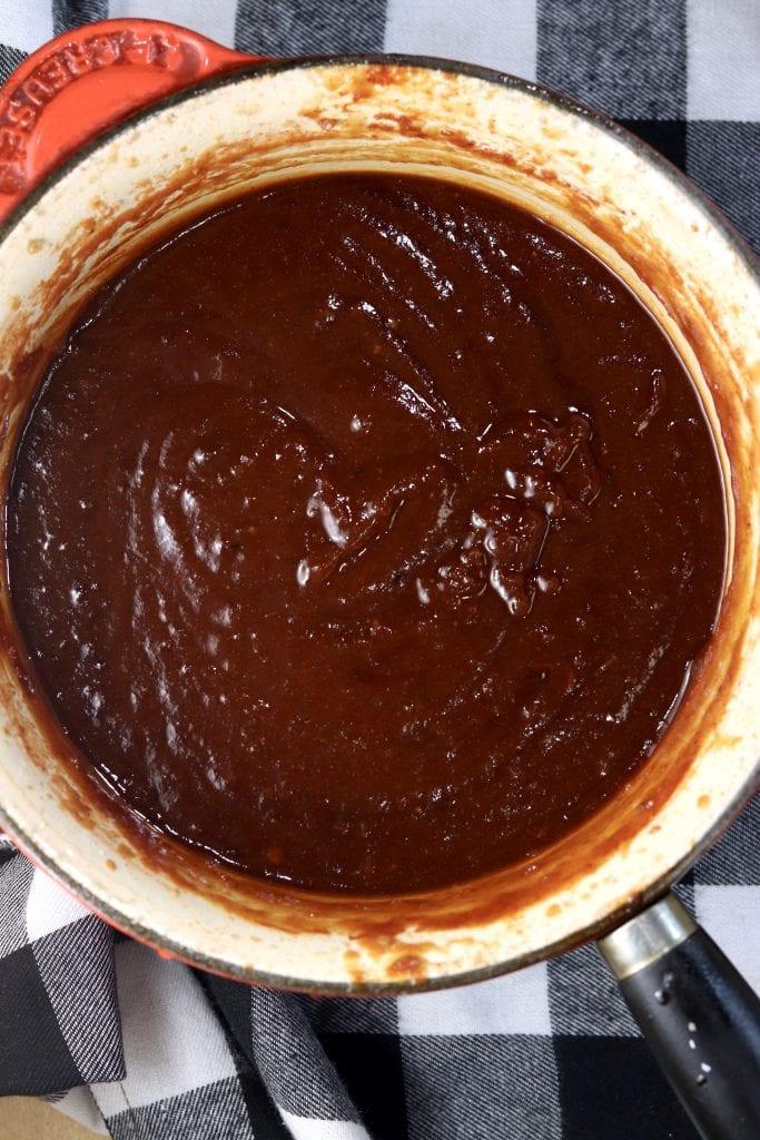 Pan of homemade bbq sauce - overhead view