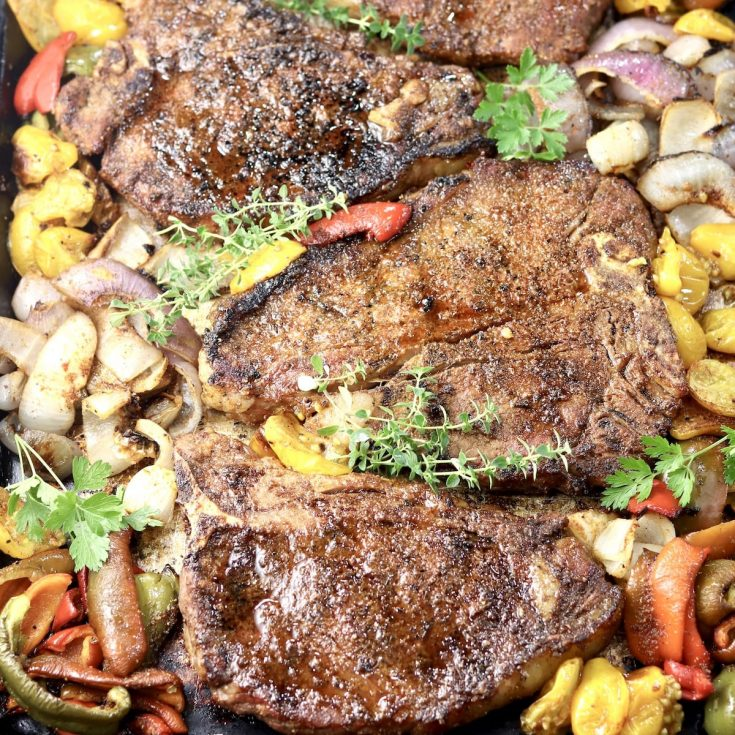 Brown Sugar T-Bone Steaks with vegetables