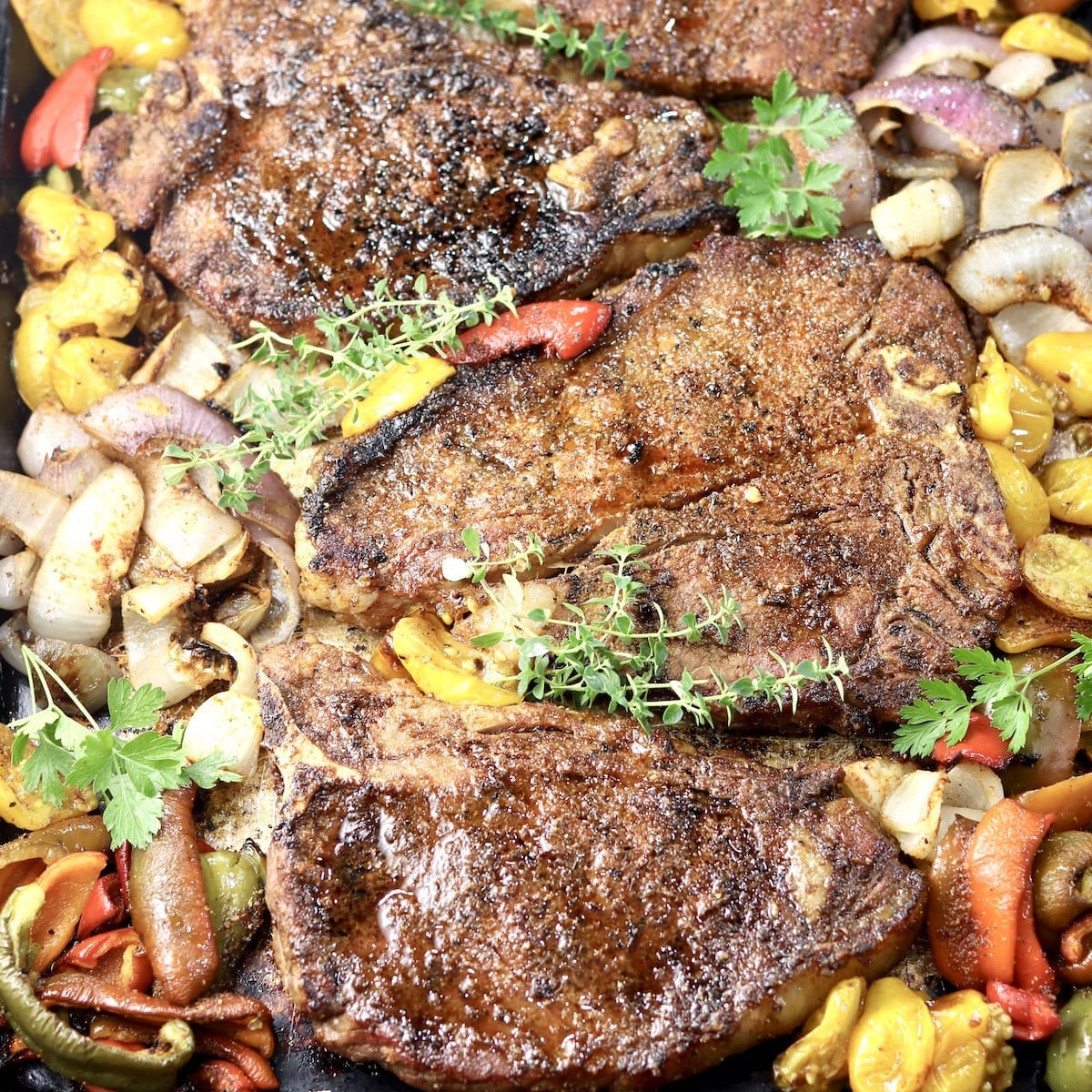 Brown Sugar T-Bone Steaks with vegetables