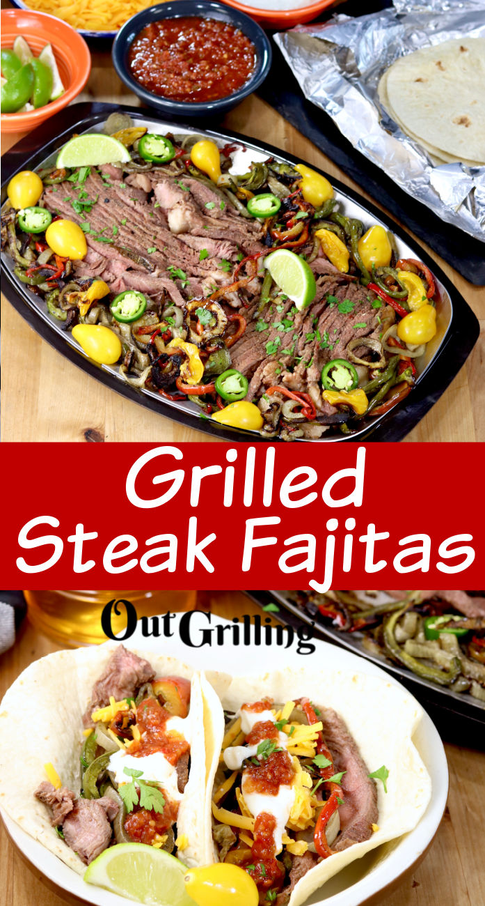 Grilled Steak Fajitas collage with plated photo