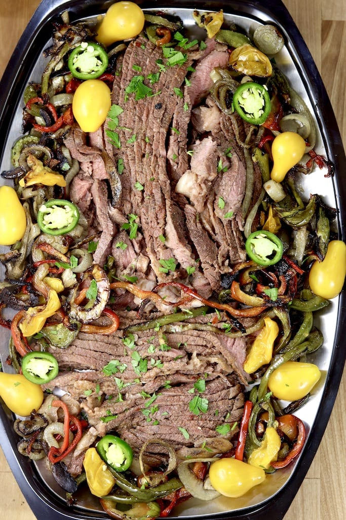 Steak fajitas platter overhead view