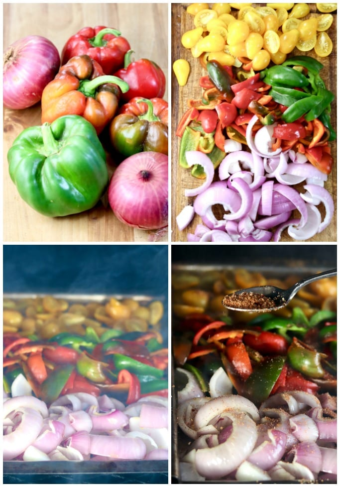 Step by Step grilling peppers, onions and tomatoes