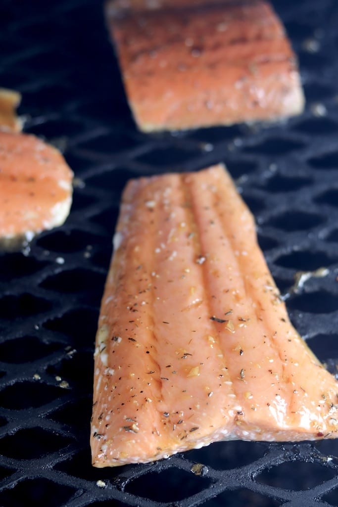 Salmon on the grill with herb glaze