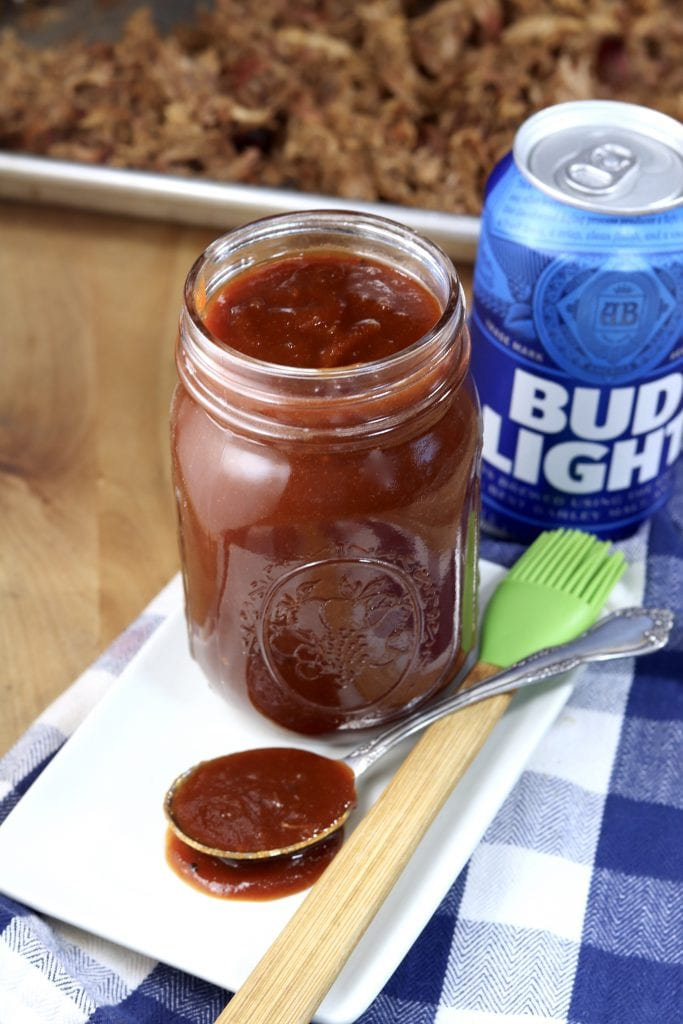 Barbecue Sauce in a mason jar made with Bud Light Beer