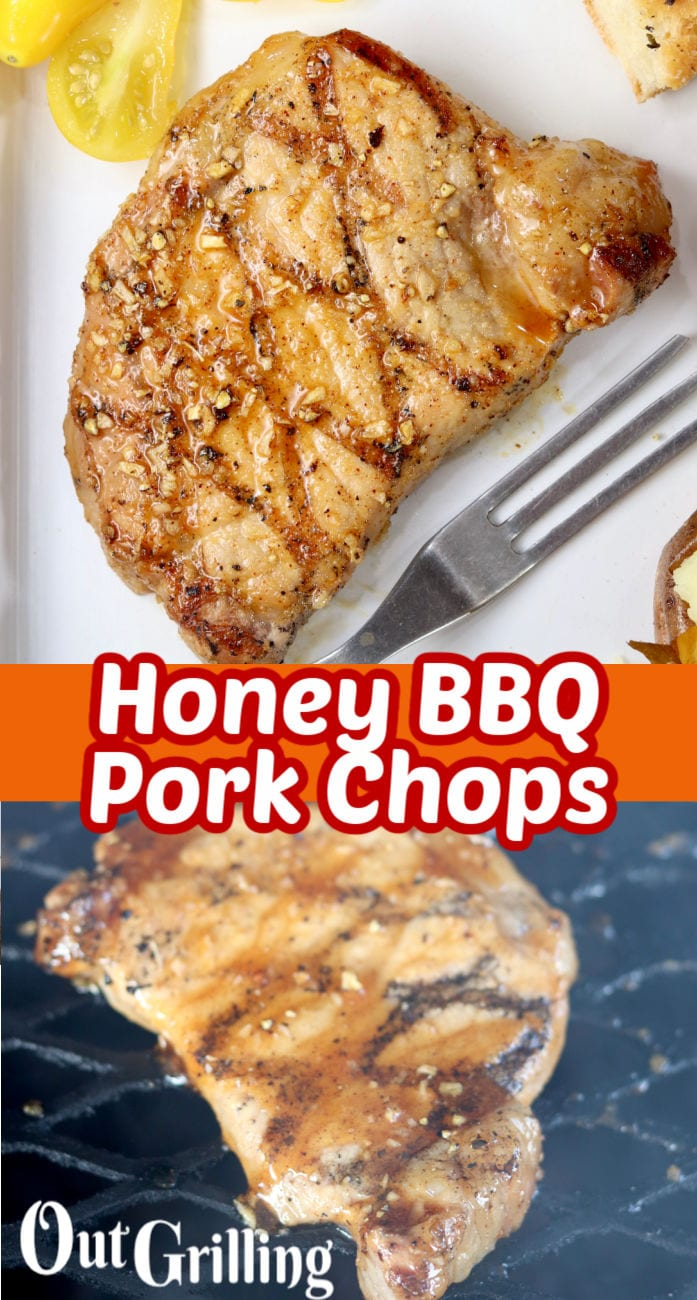 Honey BBQ Pork Chops with text overlay - plated and grill photos