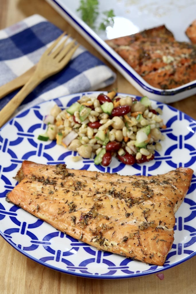 Grilled Salmon with bean salad on a plate
